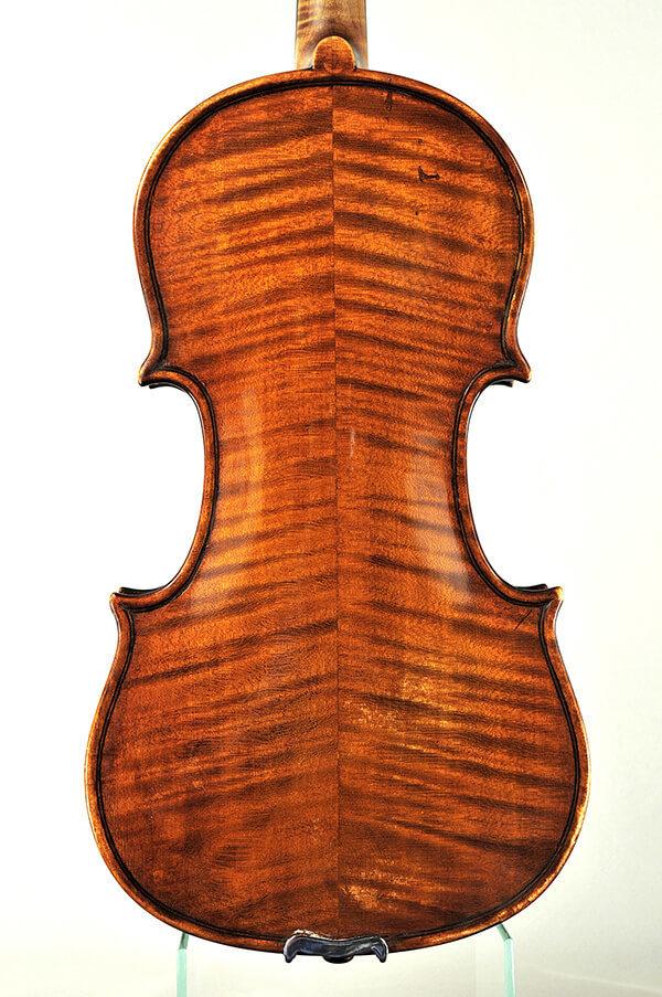 Karl Probst antik mesterhegedű hátoldala