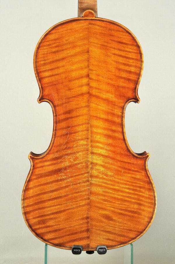 Johann Glass antik mesterhegedű hátoldala