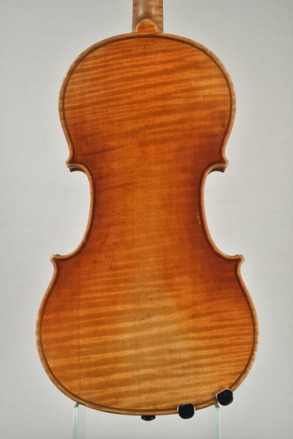 Spiegel János antik mesterhegedű hátoldala