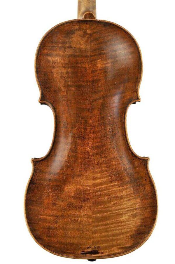 J.G. Thir antik mesterhegedű hátoldala
