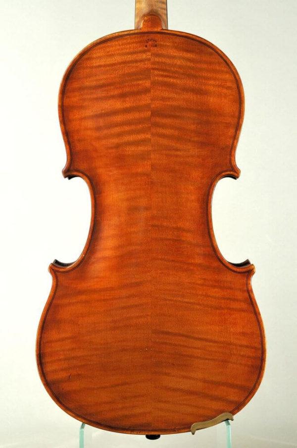 Johann Tichy antik mesterhegedű hátoldala