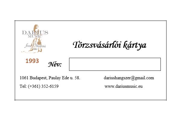 Darius Music törzsvásárlói kártya